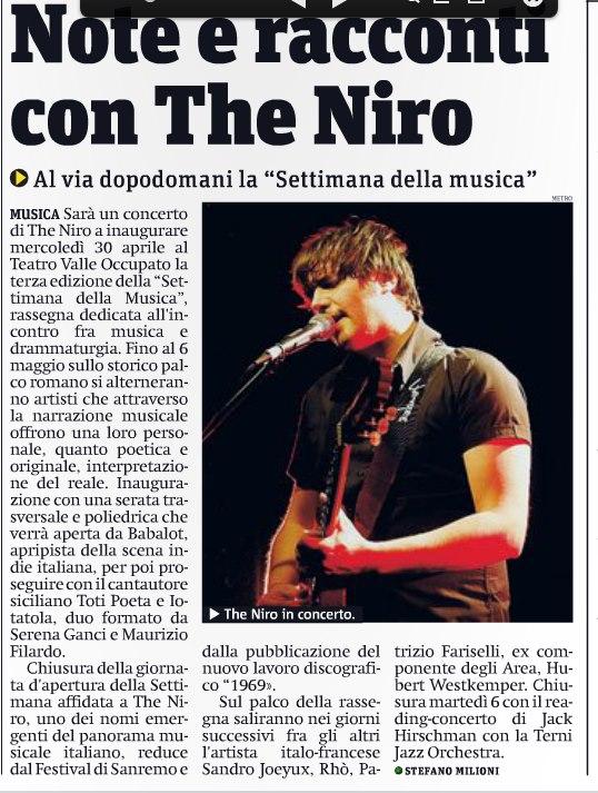 THE NIRO ART E FT 28-4-14 METRO ROMA